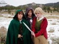 Marcella Corral as Frodo, Sophie Mercer as Sam, and Sachiko Pudding as Bilbo