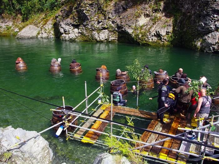 This was the access point for the actors. They would enter the barrels and then on action drift down the river. Pic credit Flora Moody