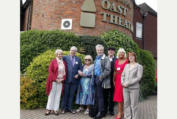 Ian McKellen meets members of the Little Theatre Group, Anne Mallen, Laura Collins, Kevin Spence, Anne Cleverton, Keith Mears and Heather Smith